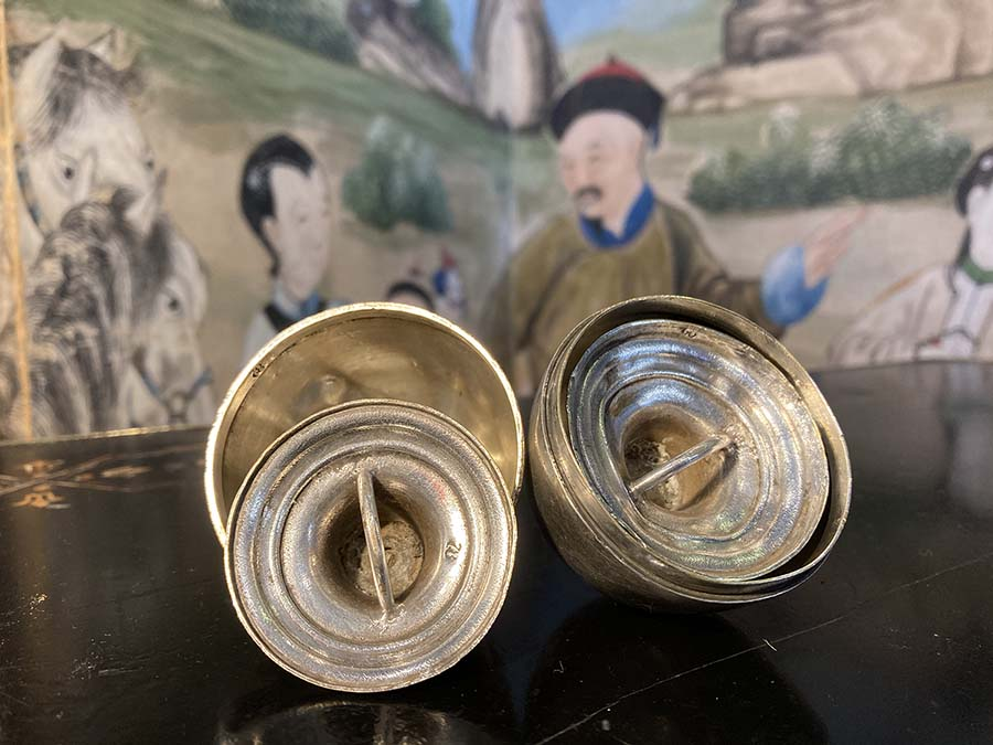 Russian silver eggcups