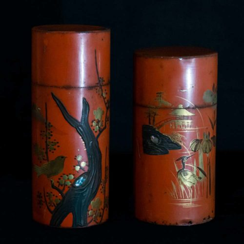 Chinese red lacquer cylinder boxes